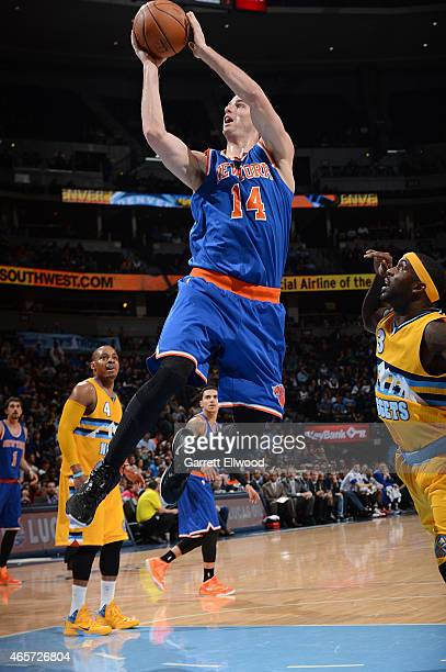Jason Smith of the New York Knicks shoots the ball against the Denver Nuggets on March 9 2015 at the Pepsi Center in Denver Colorado NOTE TO USER...