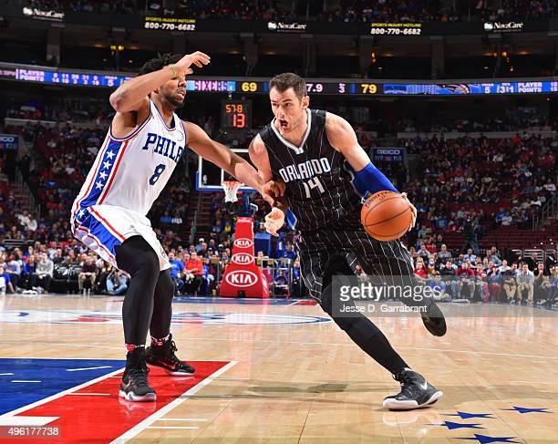 Jason Smith of the Orlando Magic drives to the basket against the Philadelphia 76ers at Wells Fargo Center on November 7 2015 in Philadelphia...