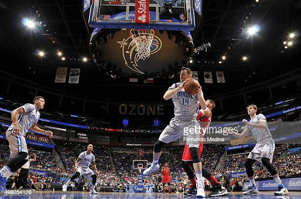 Jason Smith of the Orlando Magic grabs the rebound against the Orlando Magic during the game on November 6 2015 at Amway Center in Orlando Florida...
