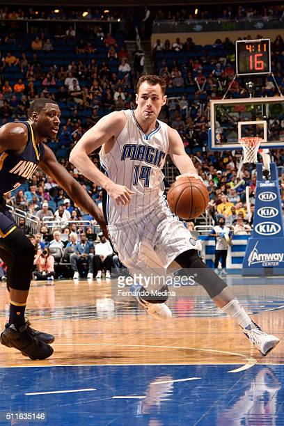 Jason Smith of the Orlando Magic handles the ball against the Orlando Magic on February 21 2016 at the Amway Center in Orlando Florida NOTE TO USER...