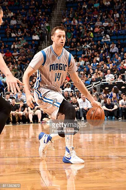 Jason Smith of the Orlando Magic handles the ball during the game against the Dallas Mavericks on February 19 2016 at Amway Center in Orlando Florida...