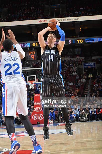 Jason Smith of the Orlando Magic looks to shoot the ball against the Philadelphia 76ers at Wells Fargo Center on November 7 2015 in Philadelphia...