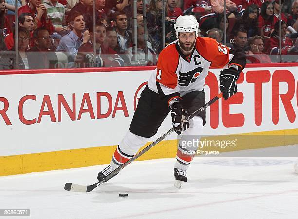Jason Smith of the Philadelphia Flyers stickhandles the puck against the Montreal Canadiens during game one of the Eastern Conference Semifinals of...