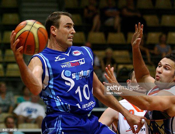 Jason Smith of the Spirit passes the ball during the round 21 NBL match between the Sydney Spirit and the Cairns Taipans held at Sydney Olympic Park...