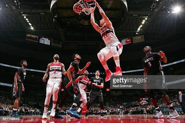 Jason Smith of the Washington Wizards dunks the ball against the Minnesota Timberwolves on January 6 2017 at Verizon Center in Washington DC NOTE TO...