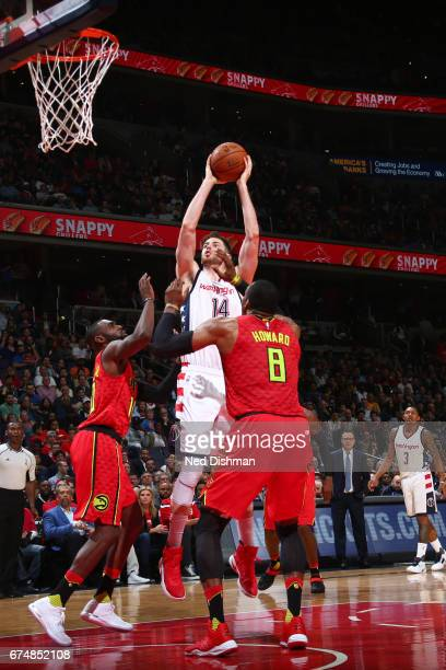 Jason Smith of the Washington Wizards goes for a dunk during the game against the Atlanta Hawks in Game Five of the Eastern Conference Quarterfinals...