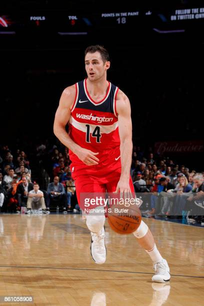 Jason Smith of the Washington Wizards handles the ball against the New York Knicks on October 13 2017 at Madison Square Garden in New York City New...