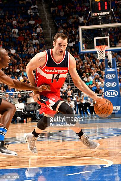 Jason Smith of the Washington Wizards handles the ball during a game against the Orlando Magic on November 5 2016 at the Amway Center in Orlando...