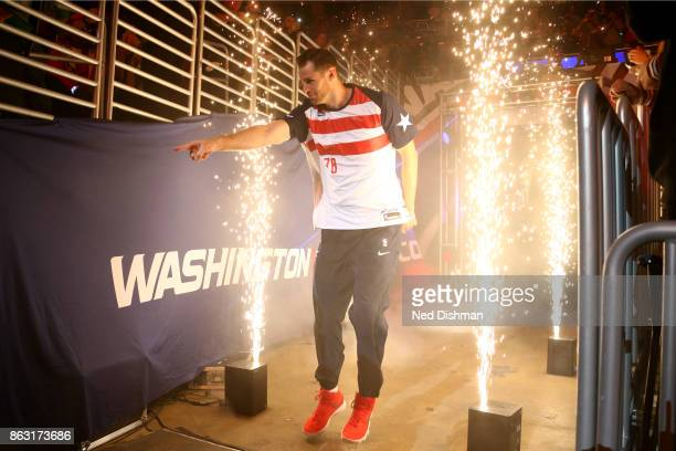 Jason Smith of the Washington Wizards is introduced before the game against the Philadelphia 76ers on October 18 2017 at Capital One Arena in...