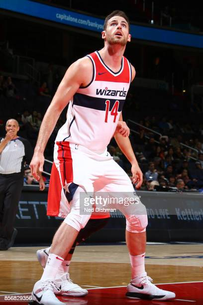 Jason Smith of the Washington Wizards looks on during the preseason game against the Guangzhou LongLions on October 2 2017 at Capital One Arena in...