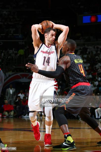 Jason Smith of the Washington Wizards looks to pass the ball during the game against the Atlanta Hawks during the Eastern Conference Quarterfinals of...