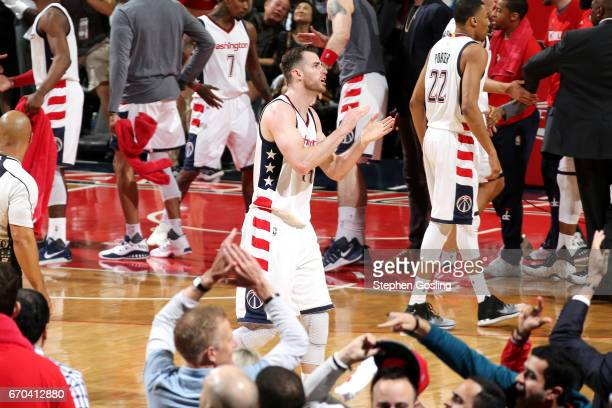 Jason Smith of the Washington Wizards reacts during the game against the Atlanta Hawks during Game Two of the Eastern Conference Quarterfinals during...