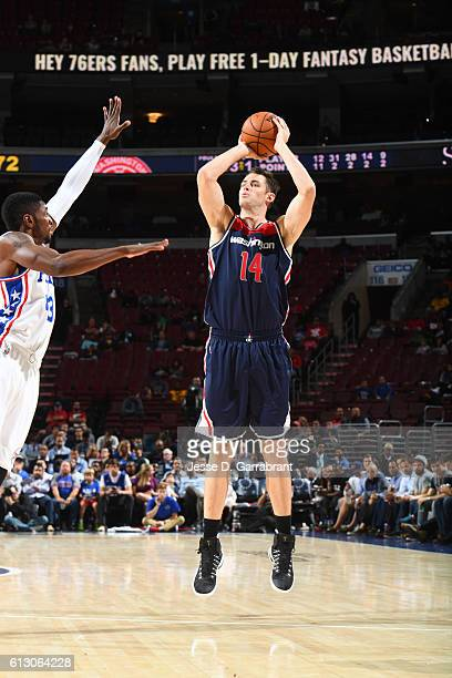 Jason Smith of the Washington Wizards shoots the ball against the Philadelphia 76ers in a preseason game on October 6 2016 at Wells Fargo Center in...
