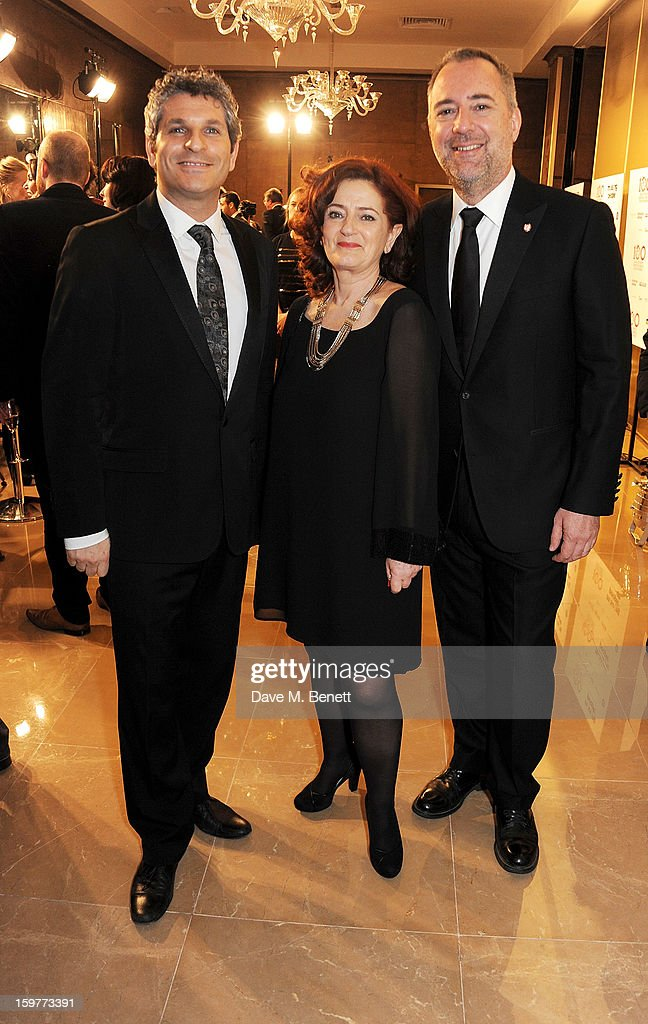 Jason Solomons, Hilary Oliver and Rich Cline arrive at the London Critics Circle Film Awards at the May Fair Hotel on January 20, 2013 in London, England.
