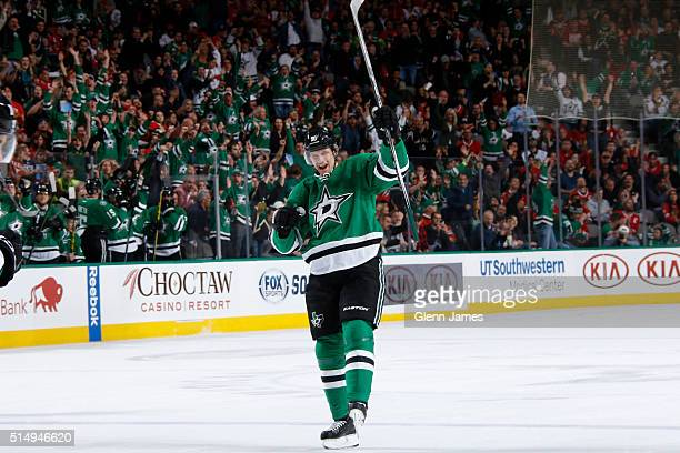 Jason Spezza of the Dallas Stars celebrates a goal against the Chicago Blackhawks at the American Airlines Center on March 11 2016 in Dallas Texas