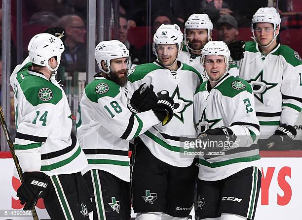 Jason Spezza of the Dallas Stars celebrates after scoring a goal against the Montreal Canadiens in the NHL game at the Bell Centre on March 8 2016 in...