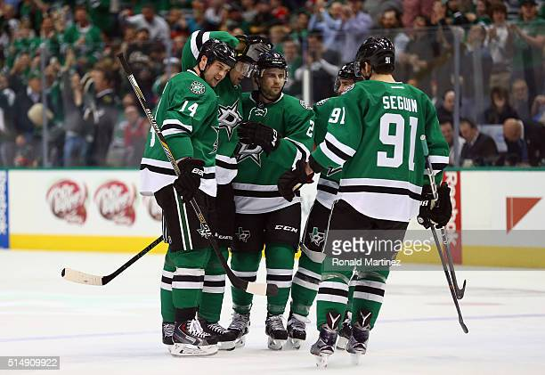 Jason Spezza of the Dallas Stars celebrates his goal against the Chicago Blackhawks in the first period at American Airlines Center on March 11 2016...