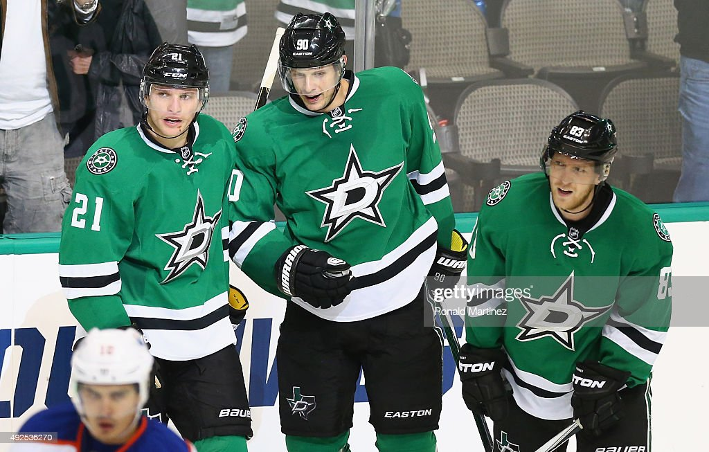 Jason Spezza #90 of the Dallas Stars celebrates his goal for the hat trick against the Edmonton Oilers in the third period at American Airlines Center on October 13, 2015 in Dallas, Texas.