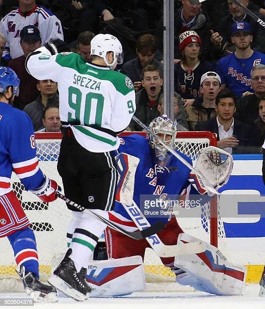 Jason Spezza of the Dallas Stars deflects a shot at Henrik Lundqvist of the New York Rangers during the second period at Madison Square Garden on...