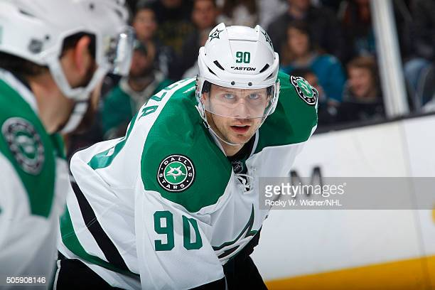 Jason Spezza of the Dallas Stars faces off against the San Jose Sharks at SAP Center on January 16 2016 in San Jose California
