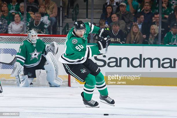 Jason Spezza of the Dallas Stars handles the puck against the Ottawa Senators at the American Airlines Center on November 24 2015 in Dallas Texas
