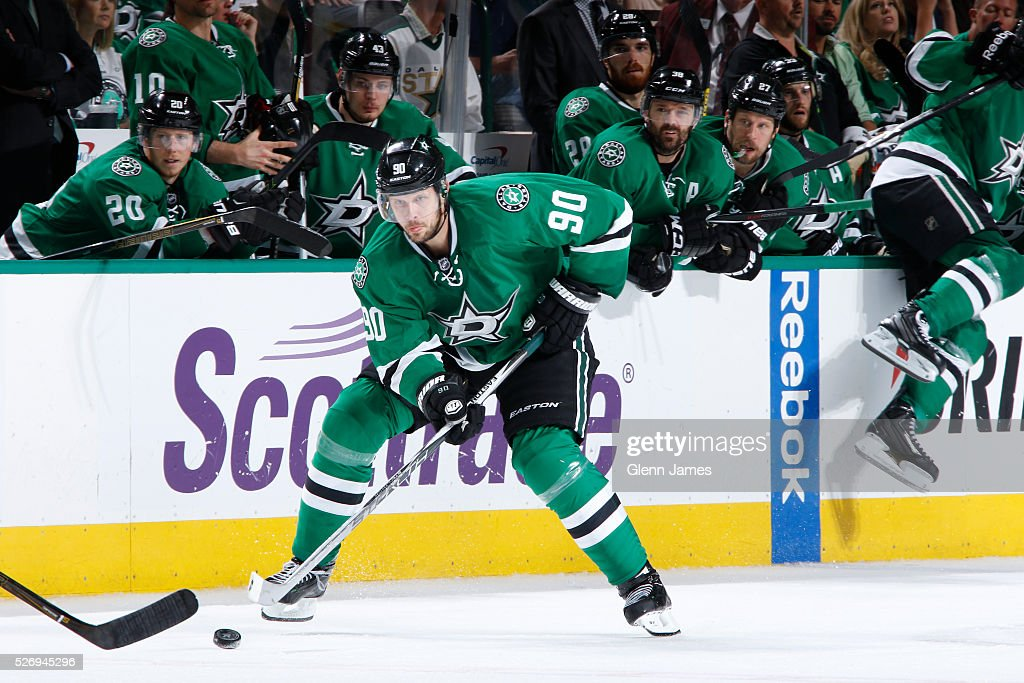 Jason Spezza #90 of the Dallas Stars handles the puck against the St. Louis Blues in Game Two of the Western Conference Second Round during the 2016 NHL Stanley Cup Playoffs at the American Airlines Center on May 1, 2016 in Dallas, Texas.