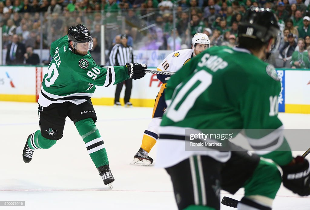 Jason Spezza #90 of the Dallas Stars scores a hat trick goal against the Nashville Predators in the third period at American Airlines Center on April 9, 2016 in Dallas, Texas.
