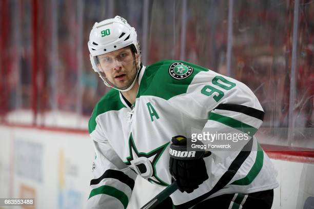 Jason Spezza of the Dallas Stars skates for position during an NHL game against the Carolina Hurricanes on April 1 2017 at PNC Arena in Raleigh North...