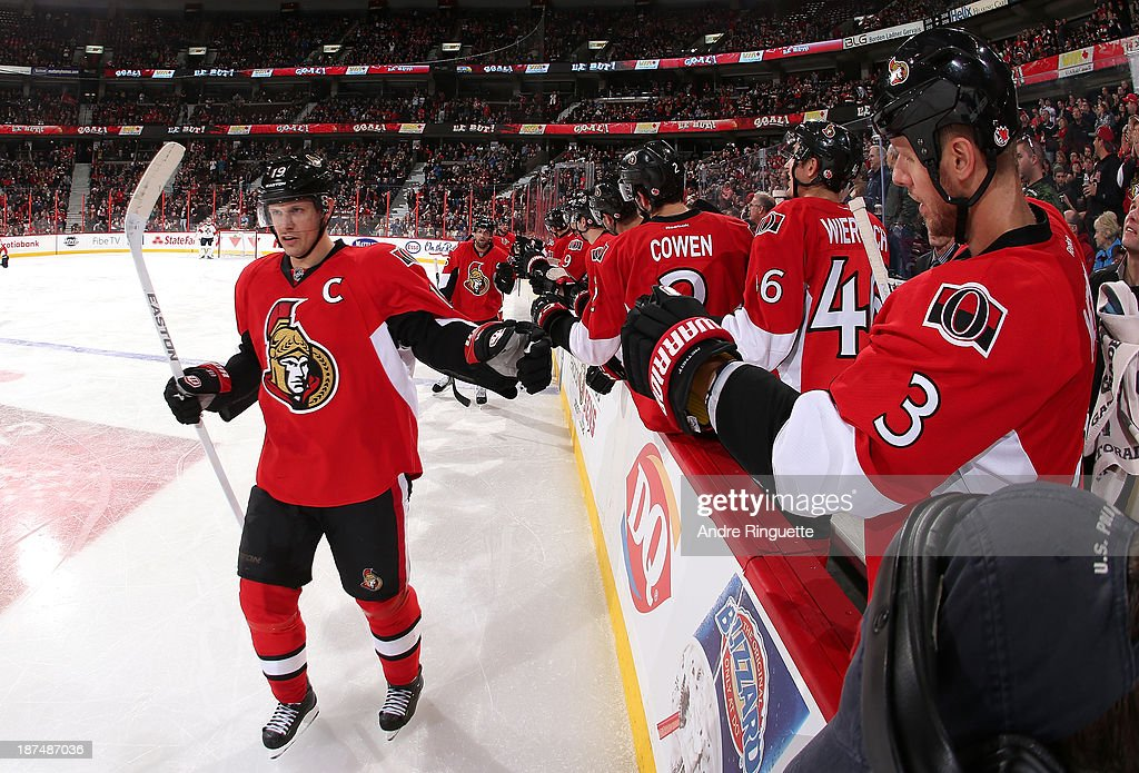 <a gi-track='captionPersonalityLinkClicked' href=/galleries/search?phrase=Jason+Spezza&family=editorial&specificpeople=202023 ng-click='$event.stopPropagation()'>Jason Spezza</a> #19 of the Ottawa Senators celebrates a second-period power-play goal against the Florida Panthers at Canadian Tire Centre on November 9, 2013 in Ottawa, Ontario, Canada.