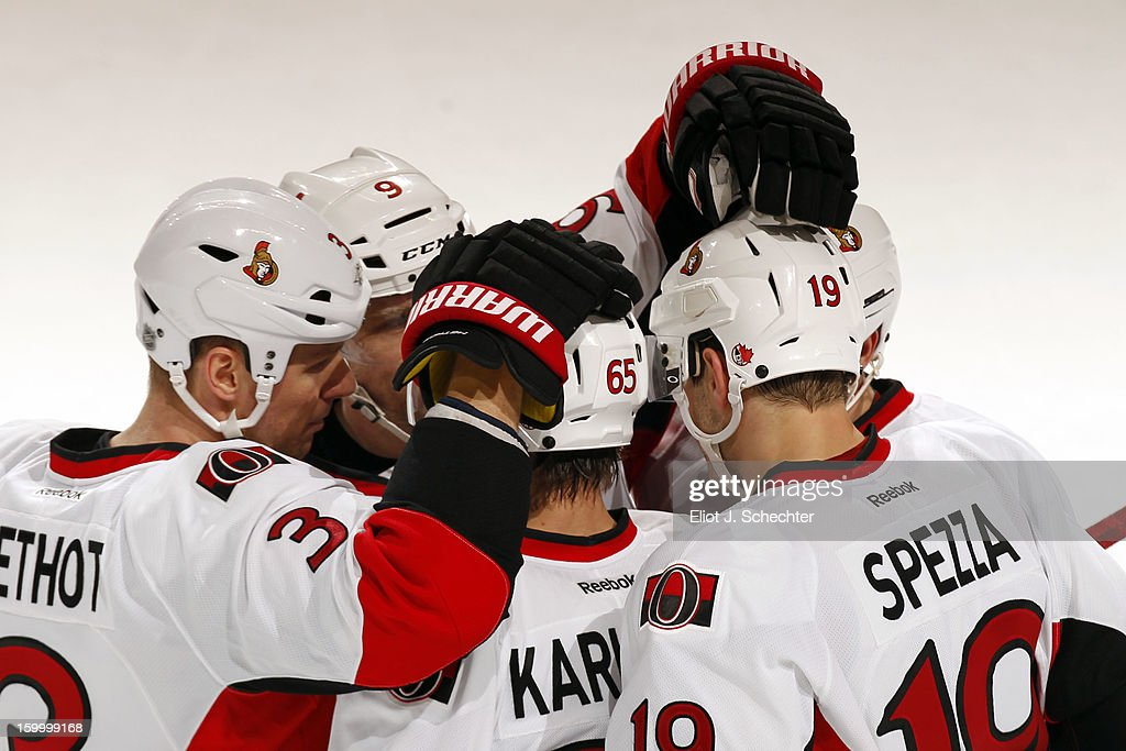 Jason Spezza #19 of the Ottawa Senators celebrates his empty net goal with teammates against the Florida Panthers at the BB&T Center on January 24, 2013 in Sunrise, Florida.