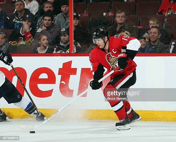 Jason Spezza of the Ottawa Senators skates against the St Louis Blues at Canadian Tire Centre on December 16 2013 in Ottawa Canada