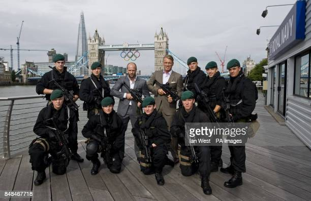 Jason Statham and Dolph Lundgren visit members of the Royal Navy at HMS President Royal Navy Reserve headquarters in London