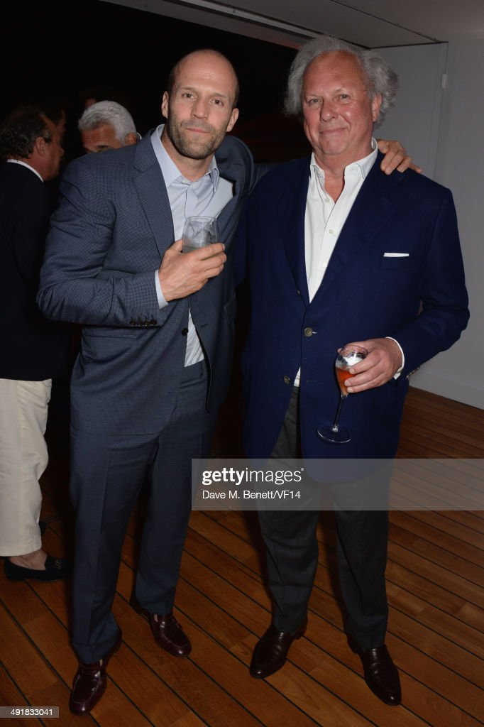 Jason Statham and Graydon Carter attend the Vanity Fair And Armani Party at the 67th Annual Cannes Film Festival on May 17 2014 in Cap d'Antibes...