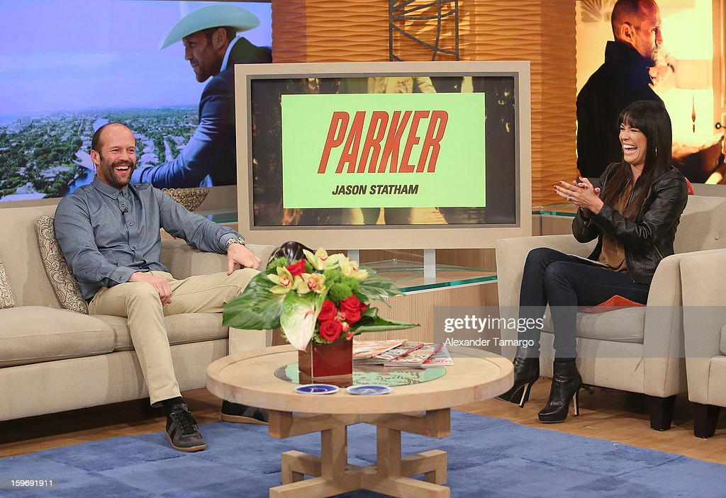 Jason Statham and Karla Martinez are seen on the set of Despierta America at Univision Headquarters on January 18, 2013 in Miami, Florida.