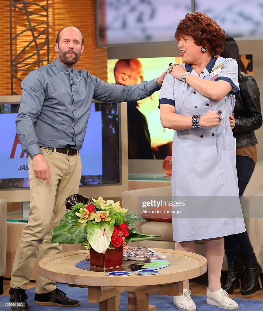 Jason Statham and Raul Gonzalez are seen on the set of Despierta America at Univision Headquarters on January 18, 2013 in Miami, Florida.