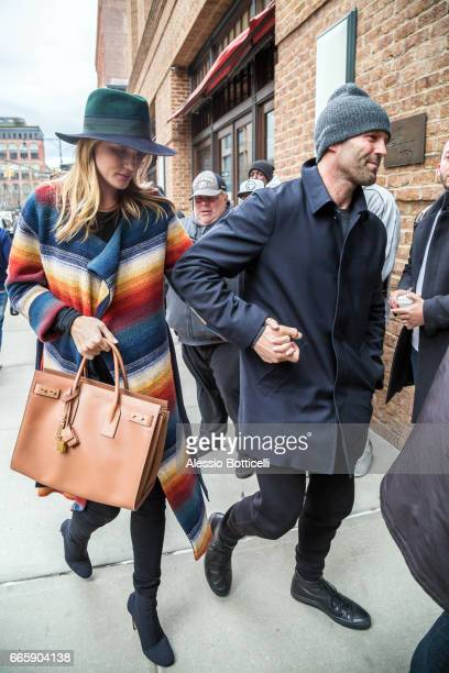 Jason Statham and Rosie HuntingtonWhiteley are seen in TriBeCa on April 7 2017 in New York New York