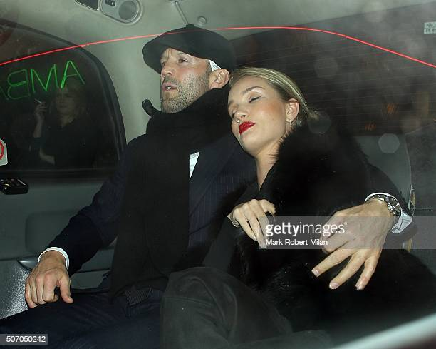 Jason Statham and Rosie HuntingtonWhiteley are seen leaving The IVY restaurant on January 26 2016 in London England