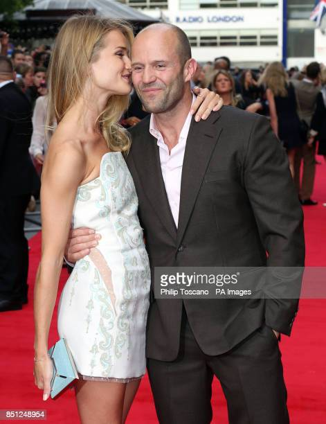 Jason Statham and Rosie HuntingtonWhiteley arrive for the UK film premiere of Hummingbird at the Odeon Leicester Square central London