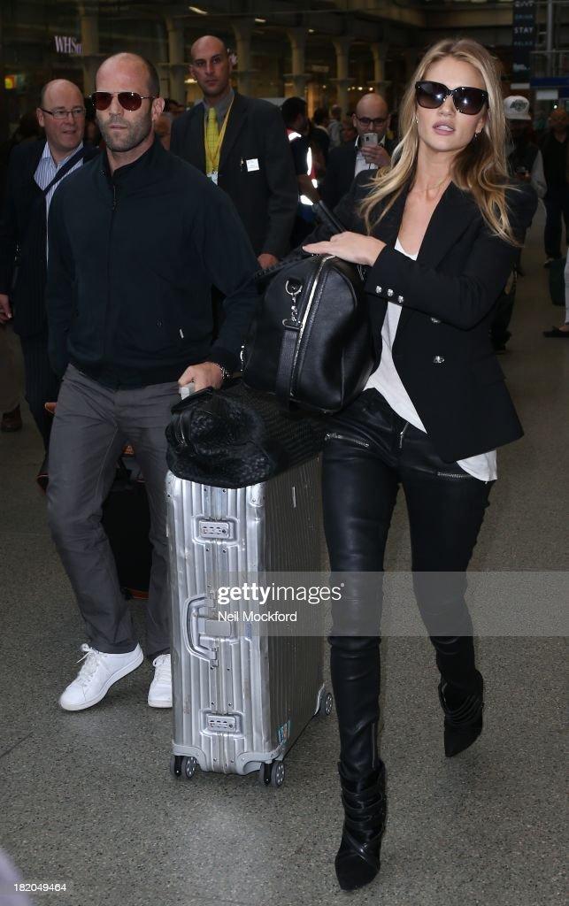Jason Statham and Rosie Huntington-Whiteley arriving at Eurostar in London on September 27, 2013.