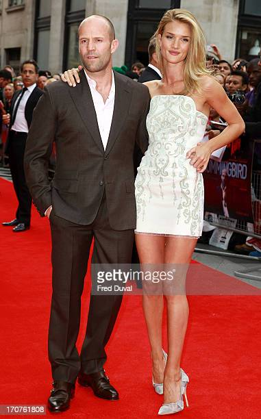 Jason Statham and Rosie HuntingtonWhiteley attend the UK Premiere of 'Hummingbird' at Odeon West End on June 17 2013 in London England