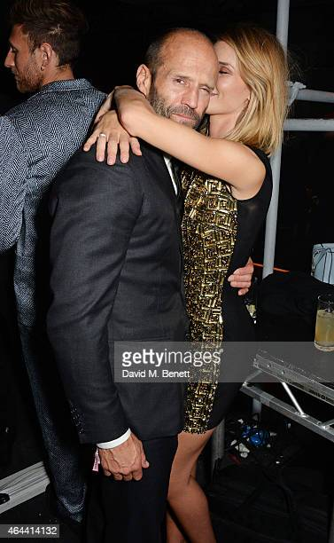 Jason Statham and Rosie HuntingtonWhiteley attend the Universal Music Brits party hosted by Bacardi at The Soho House PopUp on February 25 2015 in...