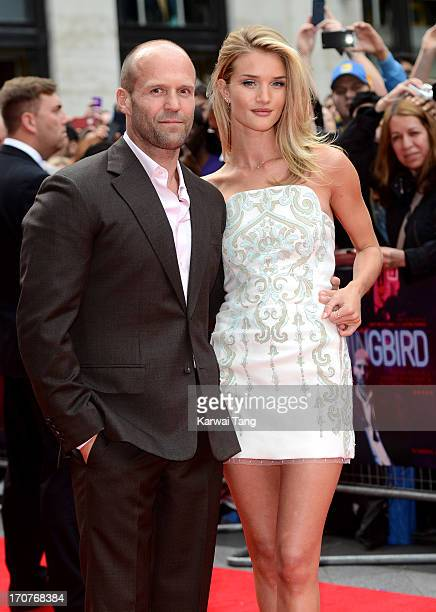 Jason Statham and Rosie HuntingtonWhiteley attends the UK Premiere of 'Hummingbird' at Odeon West End on June 17 2013 in London England