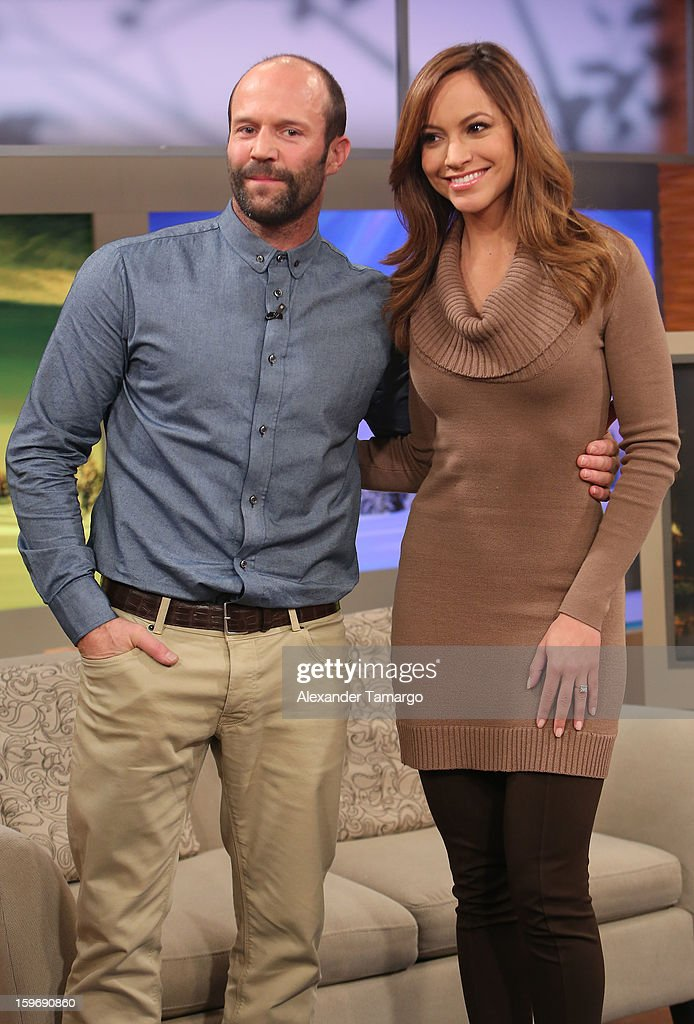 Jason Statham and Satcha Pretto are seen on the set of Despierta America at Univision Headquarters on January 18, 2013 in Miami, Florida.