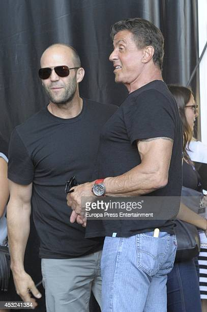 Jason Statham and Sylvester Stallone attend 'Los Mercenarios 3' photocall on August 5 2014 in Marbella Spain