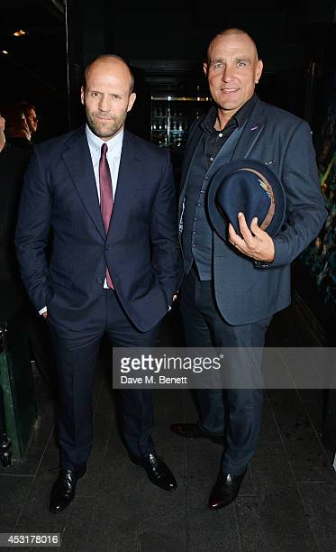 Jason Statham and Vinnie Jones attend an after party following the World Premiere of 'The Expendables 3' at DSKTRT on August 4 2014 in London England