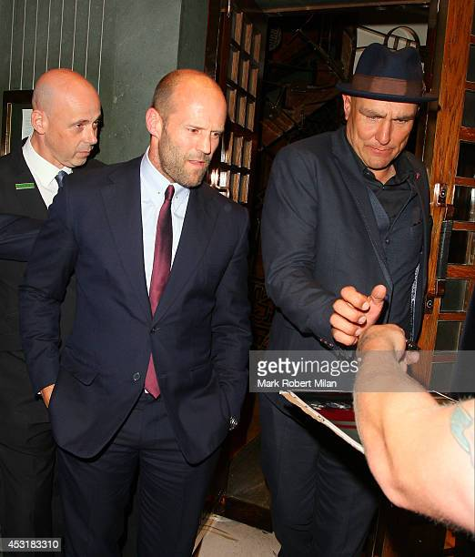 Jason Statham and Vinnie Jones leaving the Ivy restaurant on August 4 2014 in London England