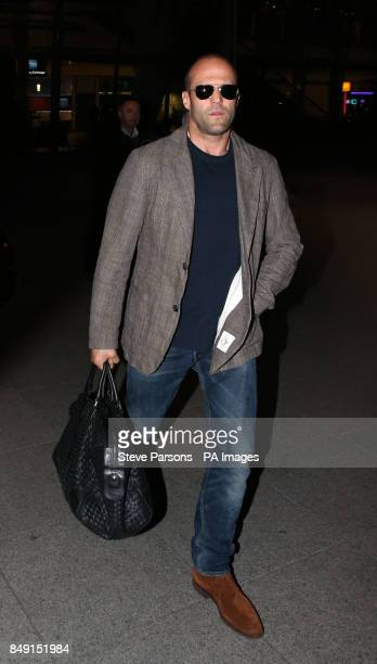 Jason Statham arrives at Terminal 5 of Heathrow Airport