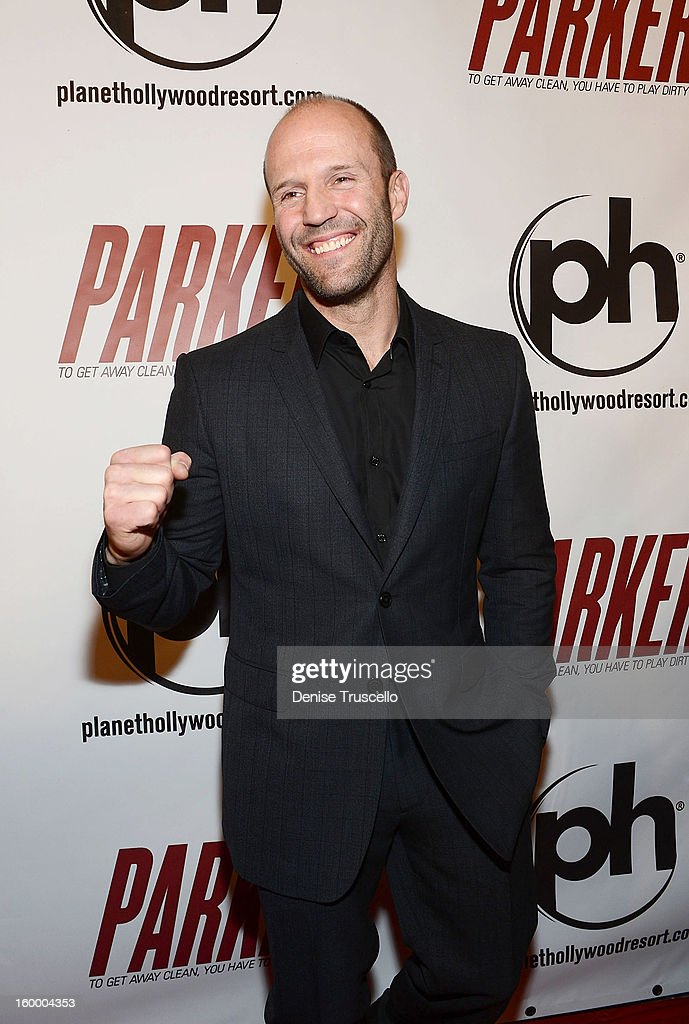 <a gi-track='captionPersonalityLinkClicked' href=/galleries/search?phrase=Jason+Statham&family=editorial&specificpeople=217567 ng-click='$event.stopPropagation()'>Jason Statham</a> arrives at the premiere of Film District's 'Parker' at Planet Hollywood Resort & Casino on January 24, 2013 in Las Vegas, Nevada.