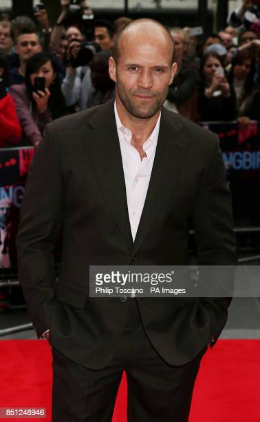 Jason Statham arrives for the UK film premiere of Hummingbird at the Odeon Leicester Square central London