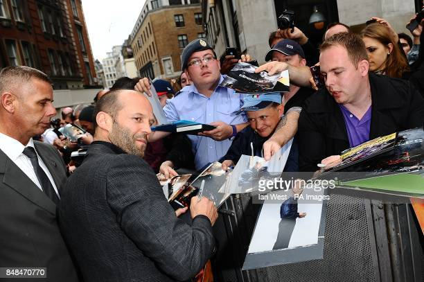 Jason Statham arriving for the UK Premiere of The Expendables 2 at the Empire Cinema Leicester Square London